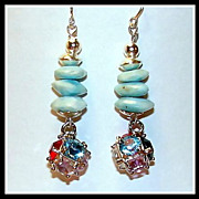 Sterling Silver, Dominican Larimar and Crystal Earrings