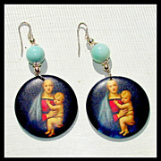 SALE Larimar Madonna and Child Earrings