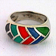 Vintage 6 Sterling Silver Inlay Stone Ring