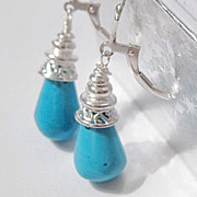 SOLD Sleeping Beauty Turquoise Briolette Earrings