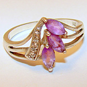 Vintage 9 Pre-owned Sterling Silver and Amethyst Ring