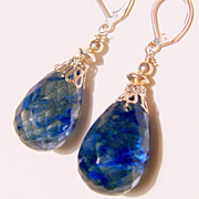 Blue Round Teardrop Briolette Earrings