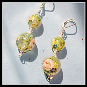 One of a Kind Floral Hollow Tensha Bead Earrings