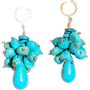 Two Inches Long Sleeping Beauty Turquoise Briolette Earrings