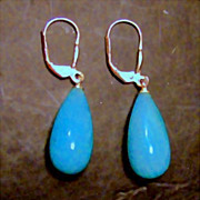 SALE Peruvian Amazonite 20 x 10 mm Long Briolette Earrings