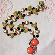 Twenty Inch Color Coordinated Hearts and Butterflies Spring Necklace