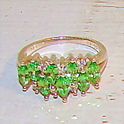 Vintage 7 Sterling Silver Green and White CZ Cluster Ring