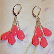 SOLD Sterling Silver Light Fuchsia Chalcedony Earrings