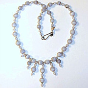 SALE Blue Crazy Lace Agate and Sterling Silver Necklace