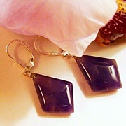 Natural  and Fancy Purple Aventurine and Sterling Silver Earrings