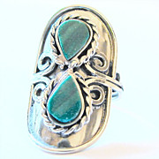 Interesting Vintage  Malachite Ring