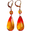 Fire Opal Swarovski Crystal Dangle Earrings
