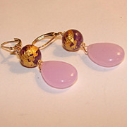 Two Inch Lavender Chalcedony Briolette earrings
