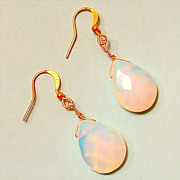 High Fashion Opalite Faceted Gold Filled Briolette Earrings