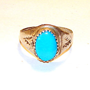 Vintage 8 Sterling Silver Old Turquoise Ring