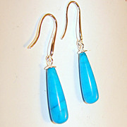 Authentic American Turquoise and Sterling Briolette Earrings