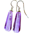 Lavender Glass Elongated Briolette Earrings