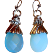 Faceted Aqua Briolette Teardrops  with Contrasting Hardware Earrings