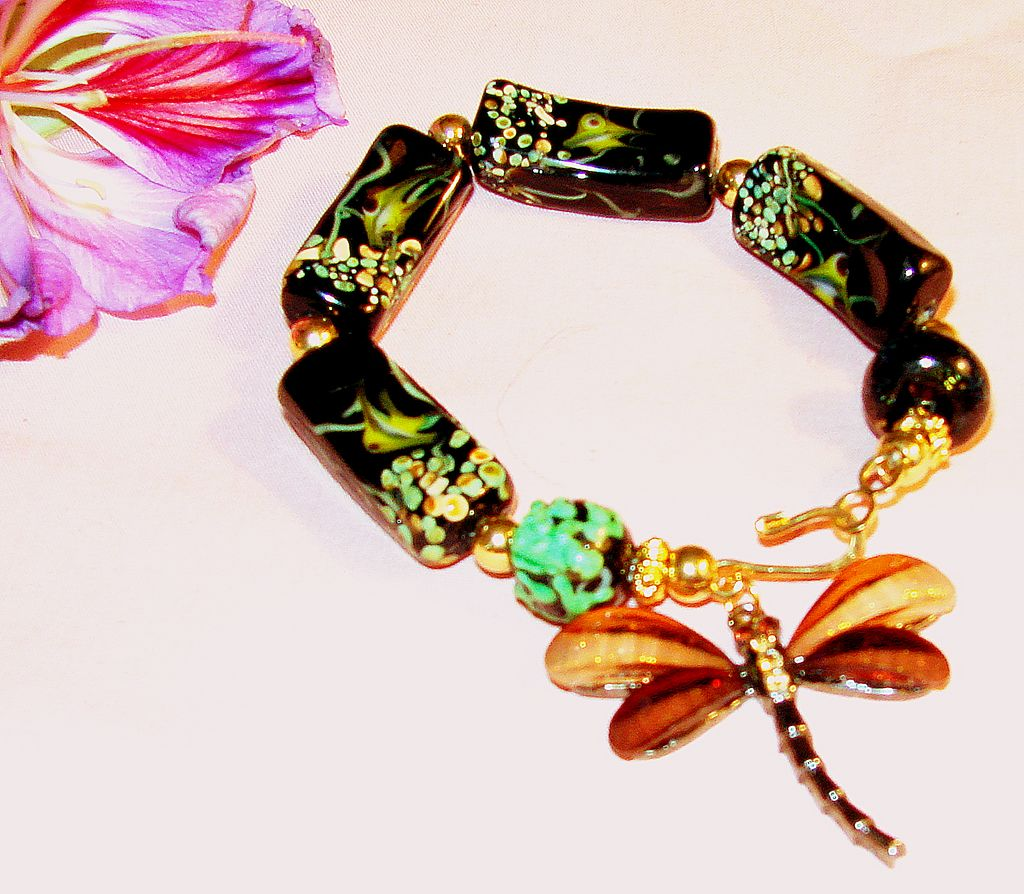 Underwater Life Bracelet with Dragonfly