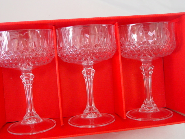 cristal d 39 arques set of 6 longchamp lead crystal glass goblets from donnadally on ruby lane. Black Bedroom Furniture Sets. Home Design Ideas
