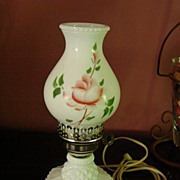 Milkglass Hobnail Table Boudoir Lamp w Hand Painted Globe