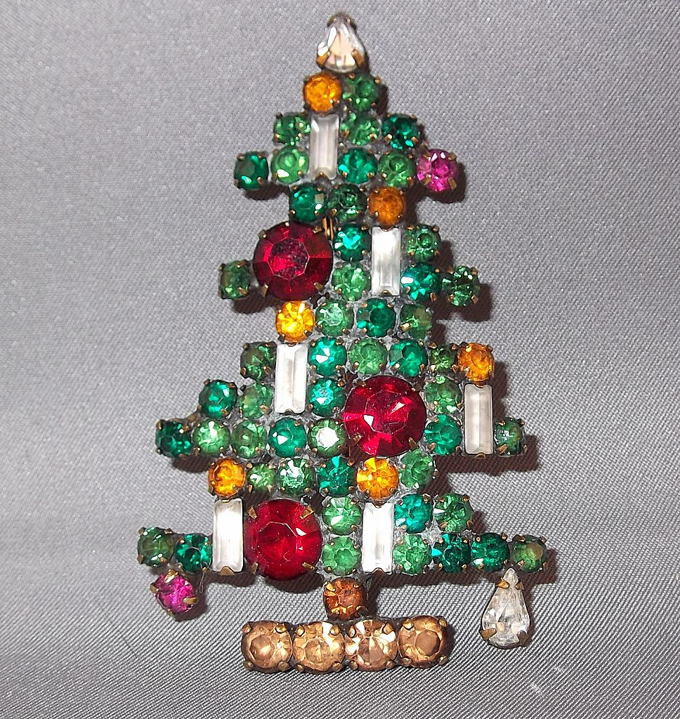 Vintage Weiß : Vintage Weiss 6 Candle Christmas Tree Brooch from donnam on Ruby Lane