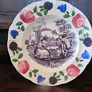 "REDUCED Staffordshire Transferware Plate Adams ""Chess Players'"