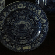 SOLD Staffordshire Transferware Plate Beehive and Vases  Dark Blue