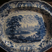 Staffordshire Transferware Huge platter &quot;Oxford&quot;, Well and Tree
