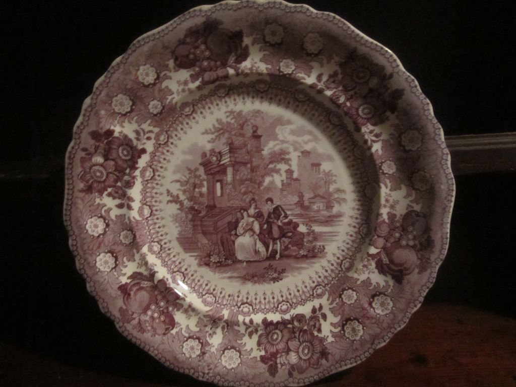 Staffordshire Transferware 10 1/2 inch plate &quot;Milanese Pavilions&quot;