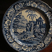 "Staffordshire Transferware Herculaneum:""View in the Fort, Madura"""