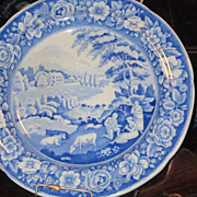 Staffordshire Transferware Dinner Plate /Riley/ Girl Musician