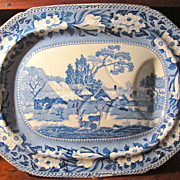 Staffordshire Transferware 18 1/2 inch platter: Rogers: Deer