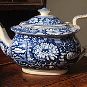 Staffordshire Transferware Teapot Leaves and Flowers c. 1830