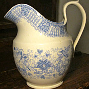 Davenport Staffordshire Transferware Pitcher-Floral- c.1835