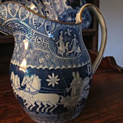 Staffordshire Transferware Greek Pattern Pitcher.  Circa 1815