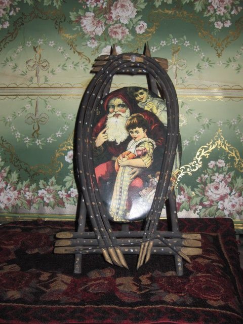 RARE Antique Tin Lithograph Oval Santa Plaque with Easel Frame!