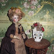 CHARMING Vintage Miniature Carved Wooden French Fashion Doll Table!