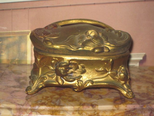 FANCY Art Nouveau Miniature Embossed Metal Trinket Box!