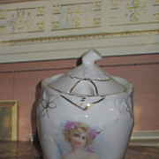 EXQUISITE Antique Painted Porcelain Jelly or Condiment Jar with Cameo Portrait!
