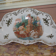 EXQUISITE Antique Hand Painted Pin Tray with NEOCLASSICAL Motif!