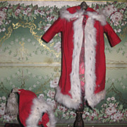 MAGNIFICENT Festive Antique Victorian Winter Doll Coat & Hat Set!  Great for Christmas!