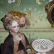 RARE Antique Miniature Hand Painted Porcelain Doll Compote Dish!