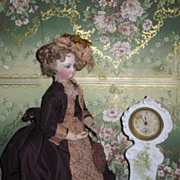 SUPERB Antique Miniature Porcelain German Grandmother Clock!