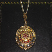 GORGEOUS Fancy Antique Victorian Lady's Garnet Glass Locket Pendant!