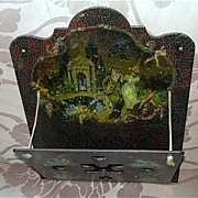 English Antique Papier Mache Magazine Letter Wall Holder Pocket  Angels Cherubs   19th C  Pape