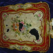 SALE PENDING Old Hand Painted Japan Papier Mache Tray Flowers Fine Paper Lacquer Art