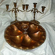 Old Mexican Copper Artists Centerpiece Bowl & Pair Candelabra Candle Sticks