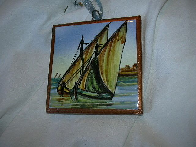 Spanish Art Tile Hand Painted Sailboats Ships Nautical Miniature
