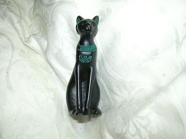 1986 Franklin Mint Black Egyptian Style Miniature Cat Figurine